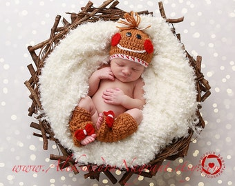 GINGERBREAD COOKIE Hat and Leg Warmers Set - acrylic - photo prop - Made To Order