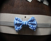 Baby Girl Blue and White Twist Swirl Pattern Bow Headband Fold Over Elastic