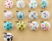 6 pcs 0.49 inch Colorful Pattern Resin Shank Buttons for Kids Shirts Cardigans