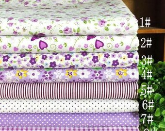 100% Cotton Fabric Cloth -DIY Cloth Art Manual Cloth -Sweet Purple Plants Flowers