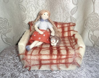 Sculptural Composition from Wool  OOAK - Needle Felted - Girl With Cat Sitting on the Couch