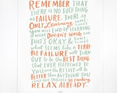 """Thoughts On Failure Inspirational Quote 8"""" x 10"""" Print by Emily McDowell Hand Lettered Typography"""