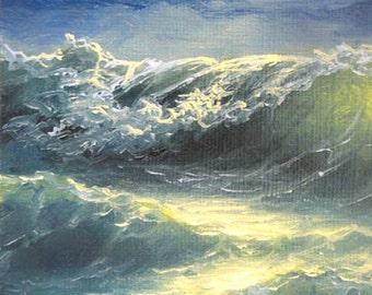 "73 - ""Sea at Night"",  5""x 7""  original giclee print"