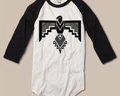 Womens *Unisex  THUNDERBIRD EAGLE Tribal Boho Gypsy Screen Print Top Long Sleeve Raglan Burnout Baseball Tee Alternative Apparel S M L XL