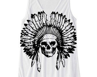 Womens Tribal INDIAN SKULL Headdress Boho Gypsy Yoga Print Bella Flowy Tank Top S M L XL