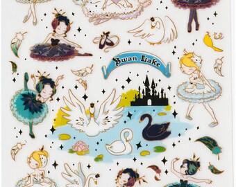 Korean Scrapbook Gold Foil Transparent Stickers - Swan Lake (STNO05025)
