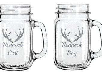 Etched Redneck Girl and Redneck Boy Set of 2 Glasses FREE Personalization