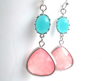 Coral Pink Dangle Earrings, Mint Blue Wedding earrings, Drop Earrings, bridesmaid giftsWedding jewelry, mother's day gift