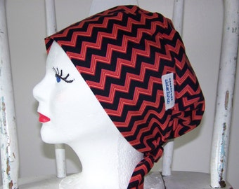 Chevron Scrub Hat Tie Back Pixie Style Black and Red