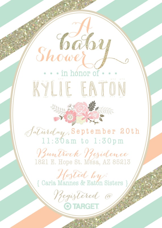 Baby Shower Invitation Message with nice invitation layout