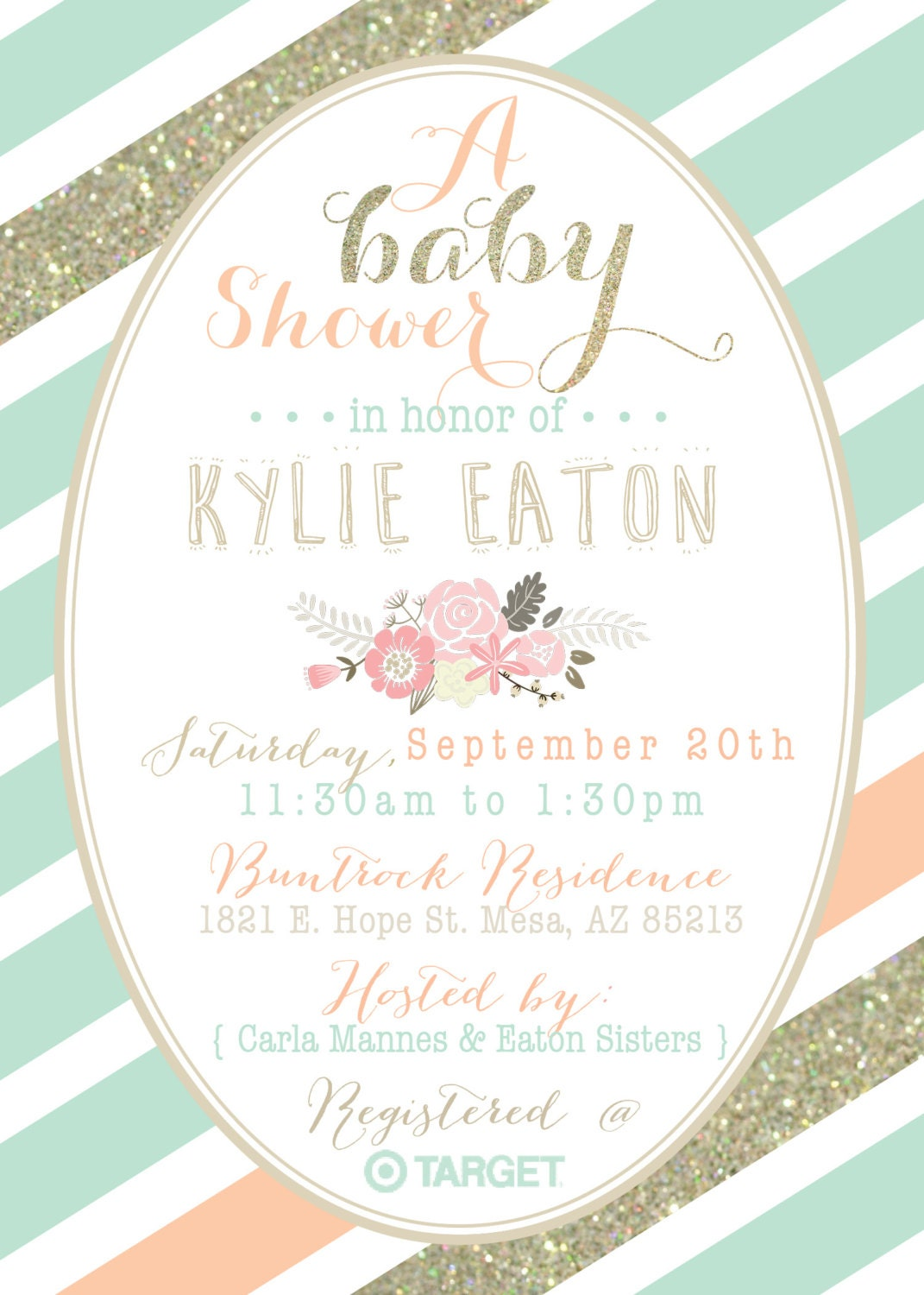 mint peach and gold baby shower invitation by dubdubdesigns, Baby shower