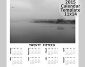 2015 Calendar Template, Digital Download, 11x14 Custom 12 month Calendar, PSD Photoshop and Elements Layered, Editable