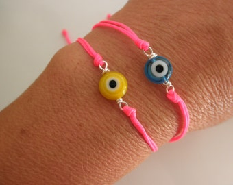 adjustable evil eye bracelet with Neon pink cord - aqua evil eye - yellow evil eye - protection bracelet