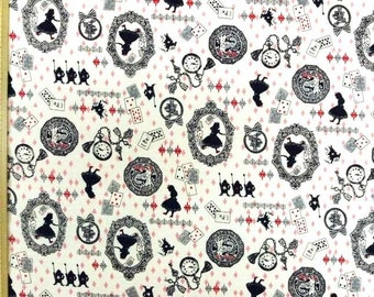 Kokka Japanese Fabric / Alice in Wonderland Fabric White Pink - 110cm x 50cm