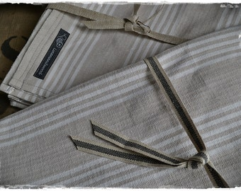 Table cloth, antique linen, mattress ticking, stripes