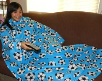 Aqua Blue Soccerballs Snuggie, Fleece Blanket with Sleeves, Basketball, Sports