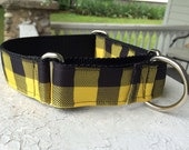 "The Lumberjack Yellow Plaid  1.5"" Martingale Collar"