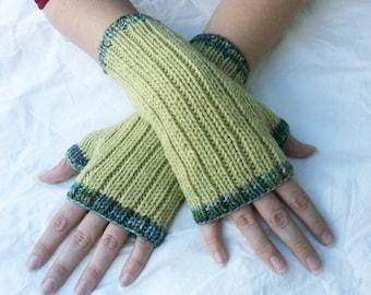 Light Sage Green Fingerless Gloves with Light Blue Green Multicolor Trim