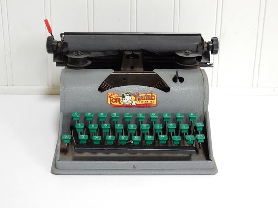 Vintage Tom Thumb Typewriter Gray Green Toy Childs