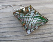 JEWELRY SALE- Golden Glass Necklace- Rectangle Drizzle- Murano Glass