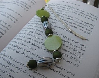 JEWELRY SALE- Beaded Bookmark Green, Silver Beads