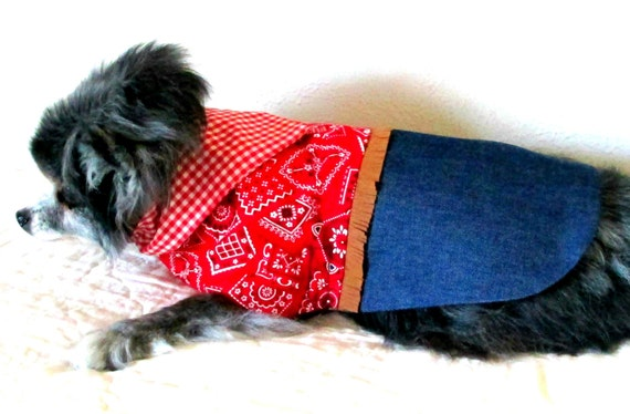 Small Dog Cowgirl Dress, Made to Order, Toy or Teacup Sizes- Fringe, Gingham Scarf and Indigo Denim Skirt
