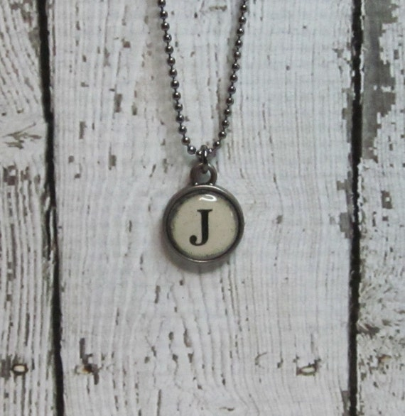 Initial J Charm Necklace, Vintage Style Typewriter Key Charm, Mini Initial Charm Necklace, Letter J on Ball Chain