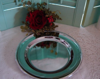 Vintage chrome tray-wedding table setting-serving tray-no tarnish tray-round tray-housewares-wedding table decor party decor