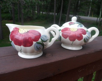 Becky Tab Pattern Blue Ridge Pottery Sugar & Creamer      (T)