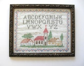 Vintage Framed Alphabet Cross Stitch Sampler, Home and Living, Mid Century Home, Circa 60's, Retro Collectible
