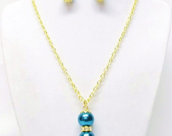 Dark Teal Green Glass Pearl Drop w/Gold Rondelle Rhinestone Pendant Necklace and Earrings Set