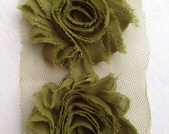Olive Green Chiffon flower shabby frayed rosette