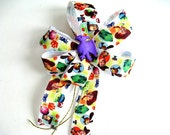 Child's gift bow, Dinosaur birthday bow, Party Decoration, Purple dinosaur bow, Gift for boys, Gift wrap bow, Gift basket bow (FN35)