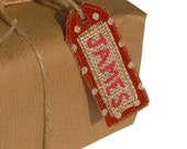 Personalised Rustic Christmas Gift Tag, Custom Name Label, Red Linen Fabric With Hessian Burlap