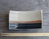 Sushi plate small ceramic Sushi plate pottery spoon rest kitchen accessory cream blue rustic stoneware soap dish