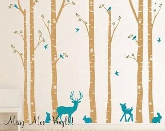 Free application Tool Birch Tree decal with Deer, LG 7 tree Set, Birch trees, Birch forest, Nursery Birch Trees Wall Vinyl QUICK SHIP
