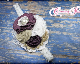 Plum Bridesmaid Hair Piece, Eggplant Purple, Burlap, Ivory Headband, Bridal Hair Accessory, Flower Hair Clip, Fabric Flower Brooch, Wedding