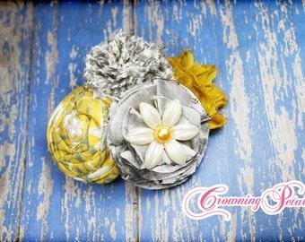 Mustard, Ivory, Grey Fabric Flower Headband, Hair Bow, Mustard Yellow, Gray Hair Accessories, Baby Girl Headband, Fabric Flower Brooch
