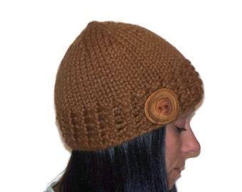 Warm Winter Beanie Hat  Hazelnut with Handmade Wood Button