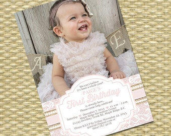 1st Birthday Invitation Burlap Lace Pearls First Birthday Shabby Chic Tea Party Birthday Party Invite Vintage Lace Soft Pink, ANY COLORS