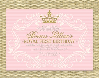 Princess First Birthday Invitation, Royal Baby Girl Shower, Printable, Her Royal Majesty - ANY COLOR SCHEME - Any Event
