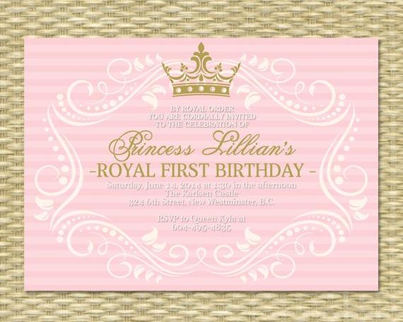 Princess First Birthday Invitation Royal Baby Girl Shower – First Birthday Princess Invitations