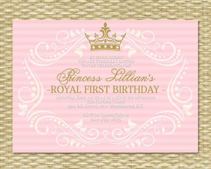 Princess First Birthday Invitation Royal Baby Girl Shower - Birthday invitation princess