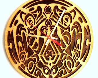 Wolf Pack tattoo Twilight. Modern wooden wall  clock.