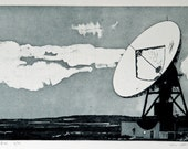 Etching Print - Industrial Etching - Satellite Dish Etching - 'Goonhilly Six' by William White - FREE SHIPPING