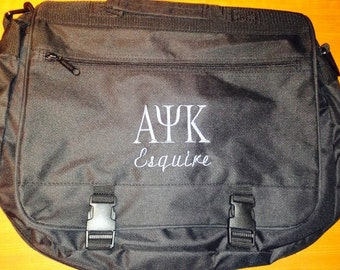 Executive Saddlebag with Embroidered Greek Letters