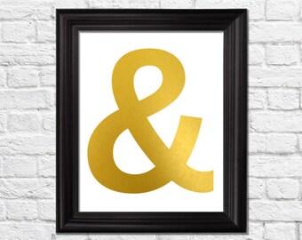 ampersand art print, ampersand decor, golden art print, nursery art print, kids bedroom print, modern home decor, living room decor