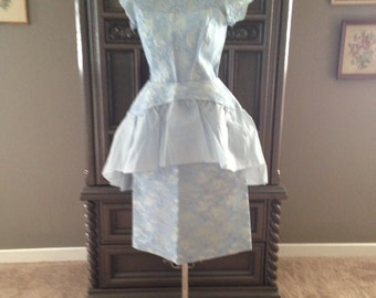 50s Blue Courthouse Wedding Lace Cahill Beverly Hills Wiggle Dress with Removable Peplum
