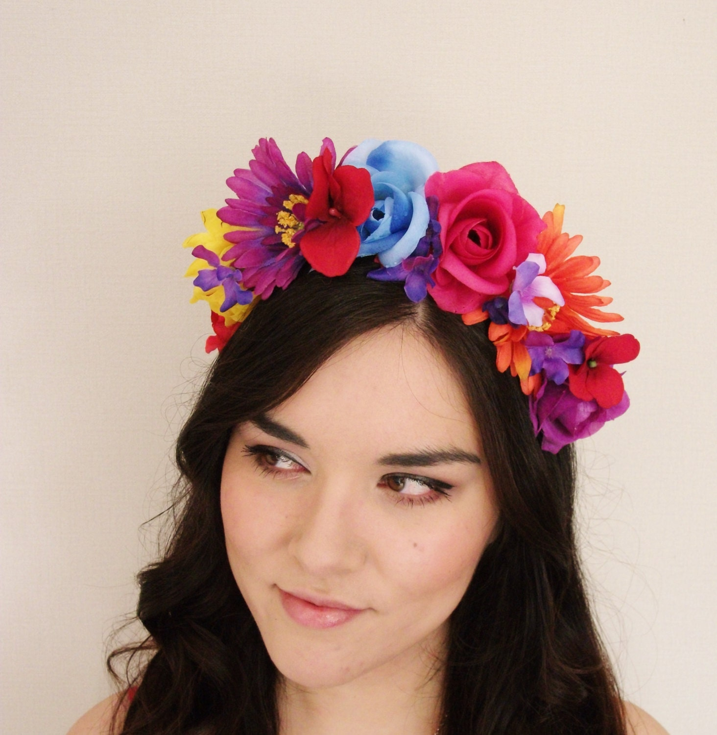 Mexican Rose Flower Crown Purple Pink Blue by MissWildFlowers