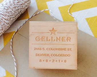 Star theme Address Stamp, Bold custom address stamp, modern address stamp